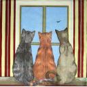 Три кошки на окошке