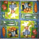 Повар с поварешкой и картошкой
