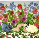 зайки и цветы акварельные