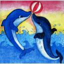 дельфины с мячом