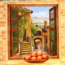 Персики на окне