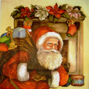 Санта с подарками у камина