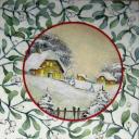 пейзаж и веточки омелы
