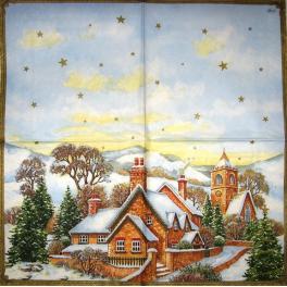 Дома и часовня в Рождество.