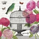 винтажные розы на узоре с птицей