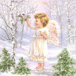 ангел  с птичкой