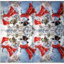 снеговики в красных шарфах