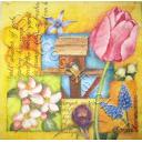 птичка и весенние цветы.  WIDA