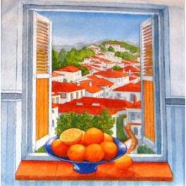 Апельсины  на окне.