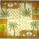 слоны, пальмы, узоры на белом