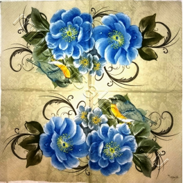цветы с птичкой. Мамико
