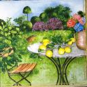 столик с лимонами в саду