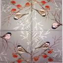 птички и рябинка (серый фон)