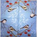 птички на рябинке (голубой фон)