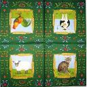 петух и животные (зеленая)