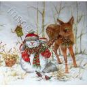 снеговик кормит птичек