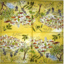 Пейзаж, лаванда и оливки (белый фон)