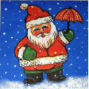 Санта с зонтиком