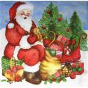 Санта и сани с подарками