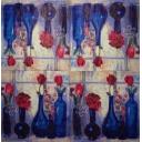 синие вазы с цветами 25 х 25