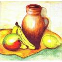 натюрморт с бананом, лимоном и яблоком  (З)