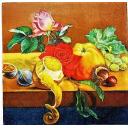 натюрморт с яблоком, лимоном и розами
