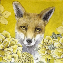 лисичка и цветы