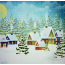домики в снегу