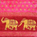 слоны на розово-красном