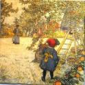 художник Карл Ларссон. В яблоневом саду