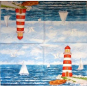 море, маяк, парусник