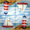 море, парусник, берег, маяк, домик
