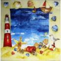 море, ракушки, чайки, маяк