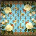 розы на голубом, бабочки