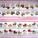 колясочки, розовый  фон