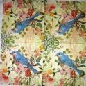 Голубая птичка и цветы 25х25