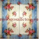 Букетики роз и синий узор-ткань