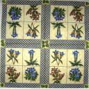 Цветы в квадратиках с кракелюром