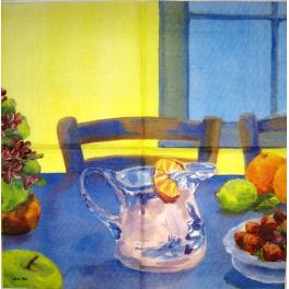 Натюрморт с лимонами и клубникой