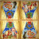 Дед Мороз и кошка в окошке