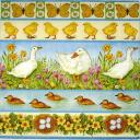 гуси, утки, цыплята, бабочки и цветочки