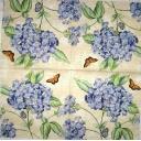 Голубая гортензия и бабочки
