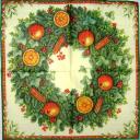 рождественский венок с яблоками, апельсинами и корицей