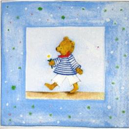 мишка моряк с ромашкой