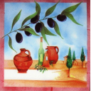 маслины и пейзаж