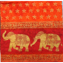слоны на оранжево-красном