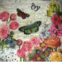 Цветы и бабочка на нотах