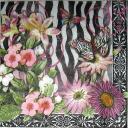 цветы и бабочки на ч/б узоре