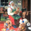 Дед Мороз шьет мишек